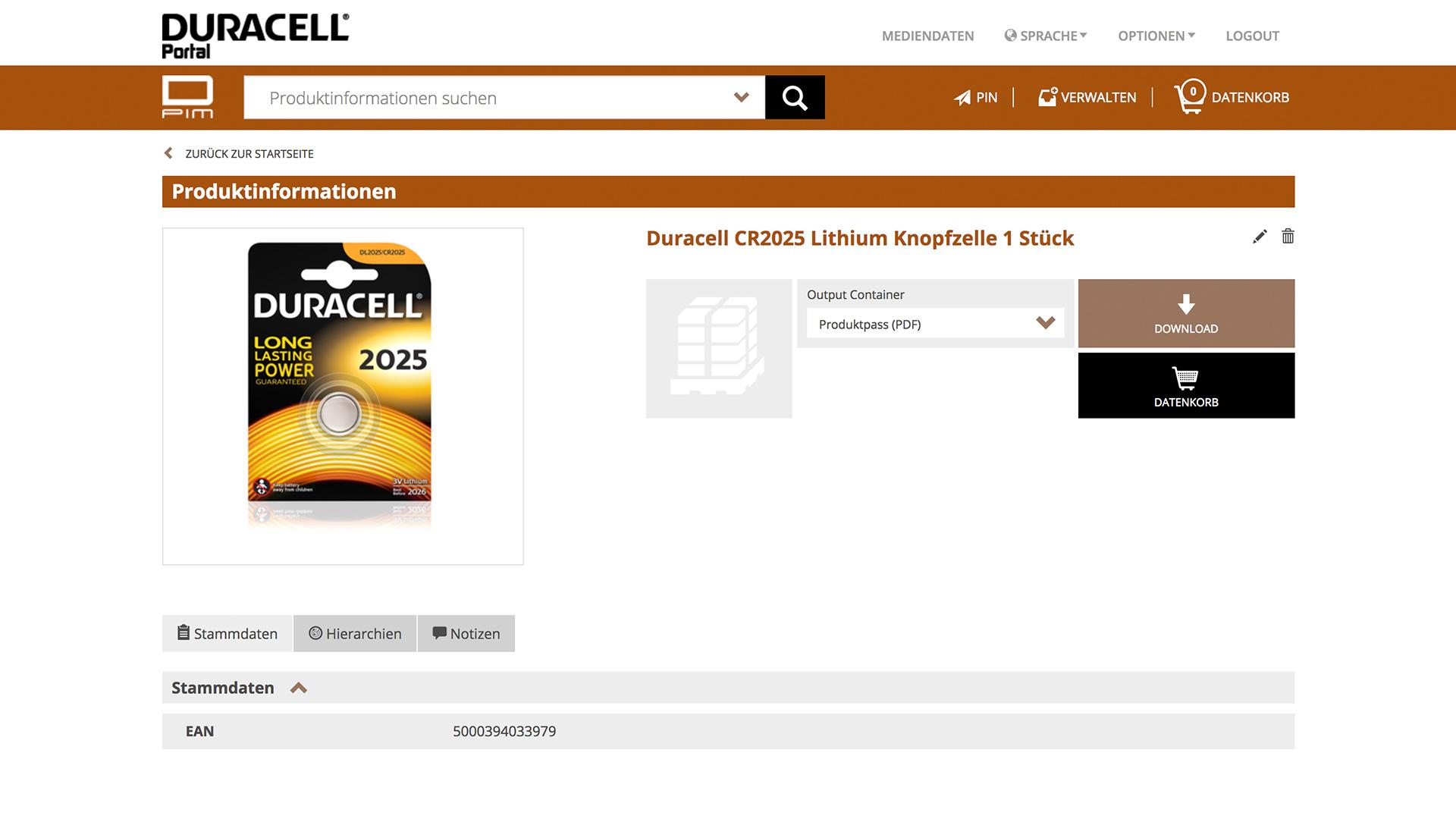Duracell DAM-System dietz Produktdetailseite