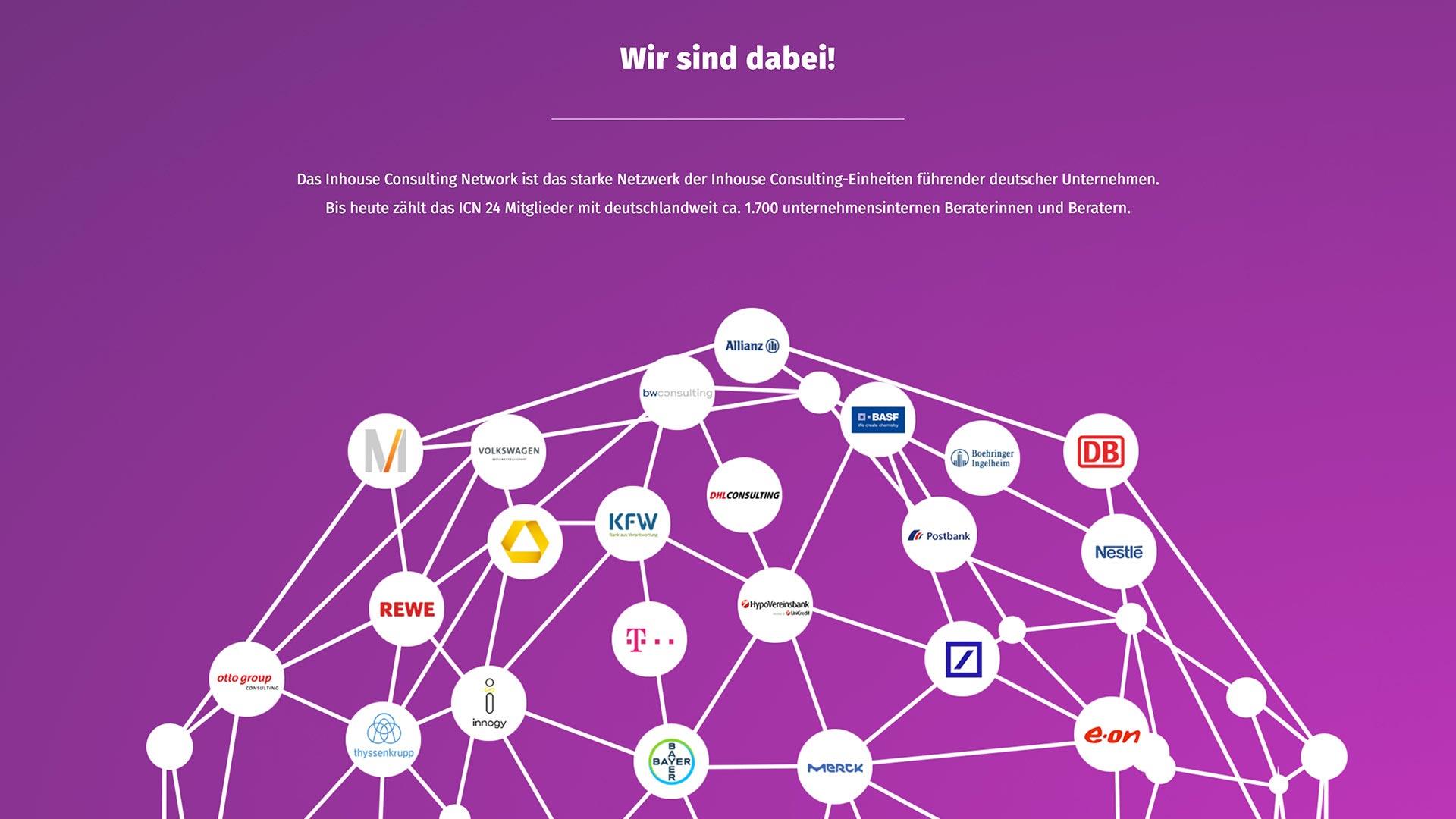 Inhouse Consulting Network Website Unternehmen