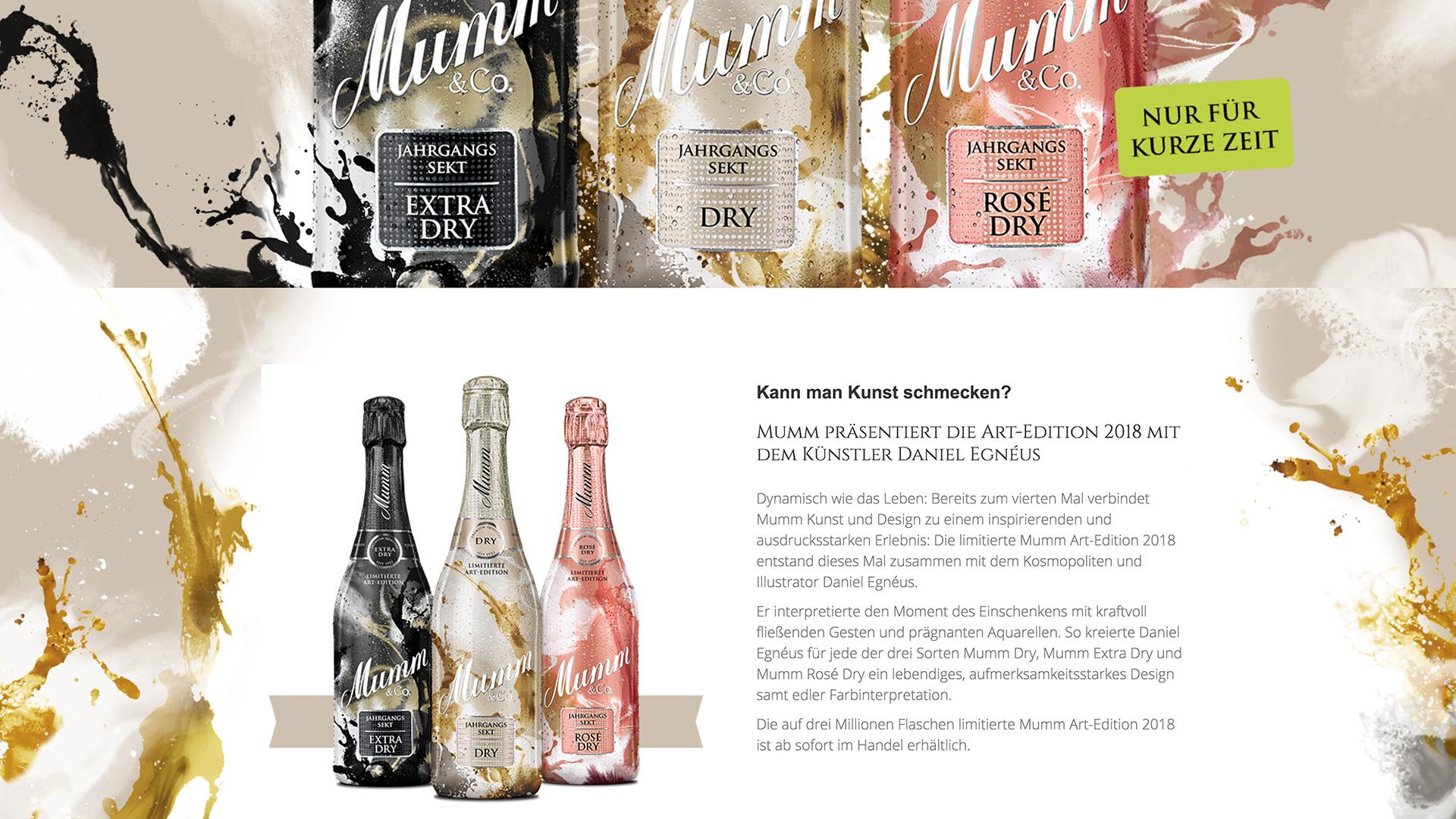 Mumm Sekt Website-Betreuung dietz Art Edition