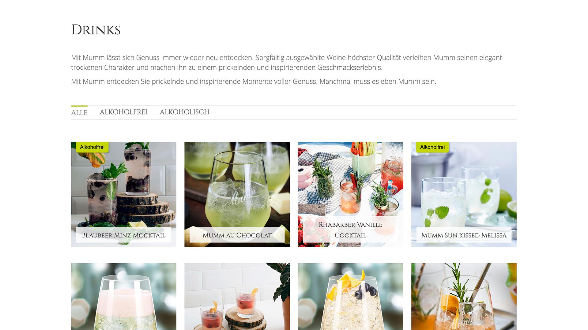 Mumm Sekt Website-Betreuung dietz Drinks